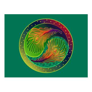 Peacock Feather Yin Yang 3 Postcard