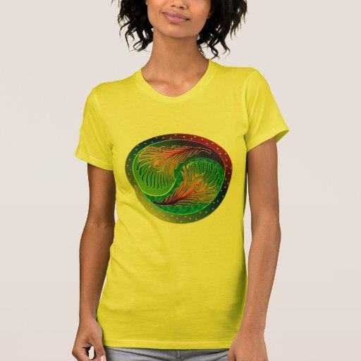 Peacock Feather Yin Yang 3 T Shirts