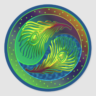 Peacock Feather Yin Yang 4 Classic Round Sticker