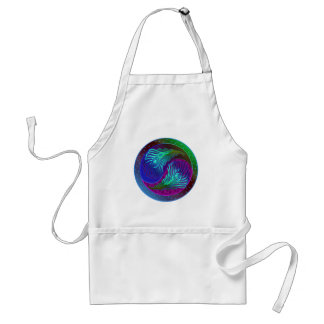 Peacock Feather Yin Yang 5 Adult Apron
