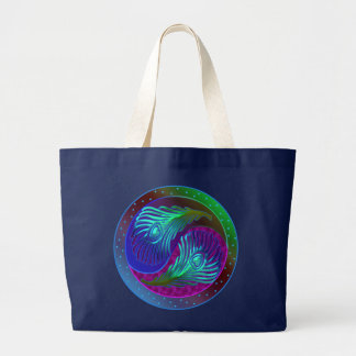 Peacock Feather Yin Yang 5 Canvas Bags