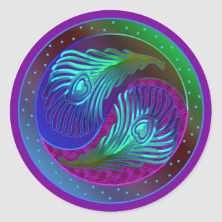 Peacock Feather Yin Yang 5 Classic Round Sticker