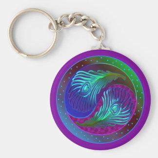 Peacock Feather Yin Yang 5 Keychain