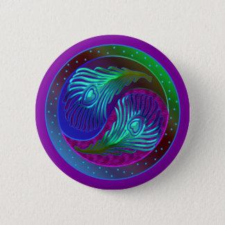 Peacock Feather Yin Yang 5 Pinback Button