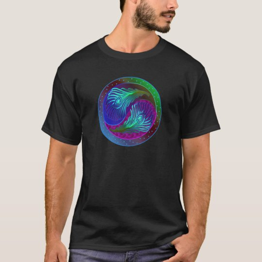 Peacock Feather Yin Yang 5 T-Shirt