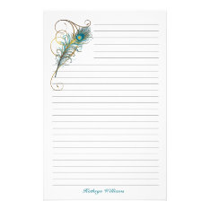Peacock Feathered Teal And Golden Lined Stationery at Zazzle