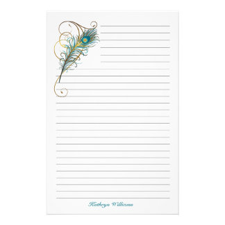 Peacock Feathered Teal And Golden Lined Stationery  Lined Stationary Template