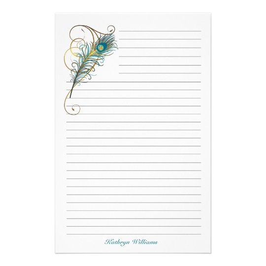 Lined Stationery Paper Beauteous Peacock Feathered Teal And Golden Lined Stationery  Zazzle