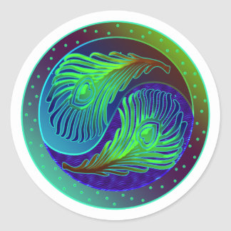 Peacock Feathers 1 Yin Yang Classic Round Sticker