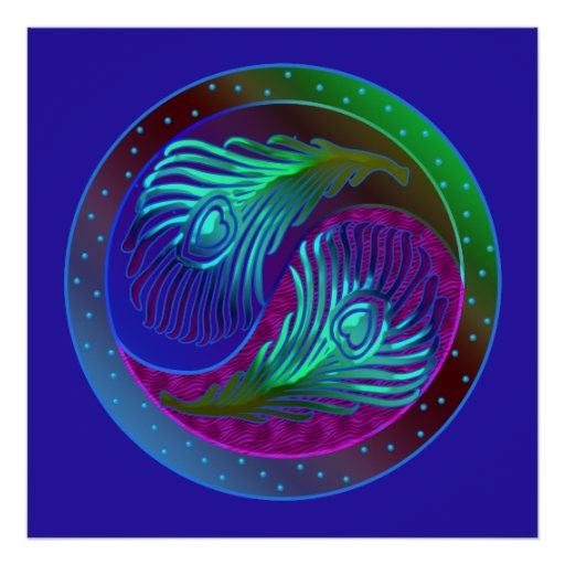 Peacock Feathers 5 Yin Yang Poster