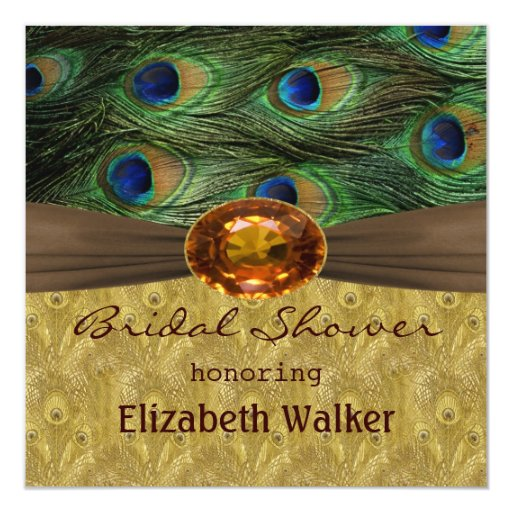 Peacock feathers, amber effect  Bridal shower 5.25x5.25 Square Paper Invitation Card