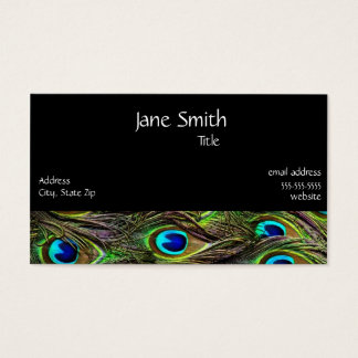 Peacock Feathers and Black Stylish Business Card