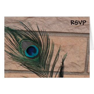 Peacock Feathers and Bricks Wedding RSVP Card