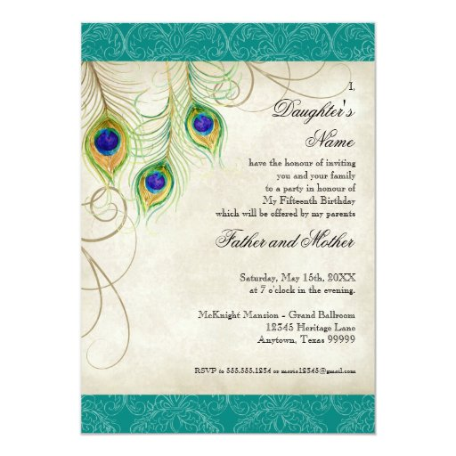 Peacock Feathers Aqua Damask Quinceanera Party 5x7 Paper Invitation Card
