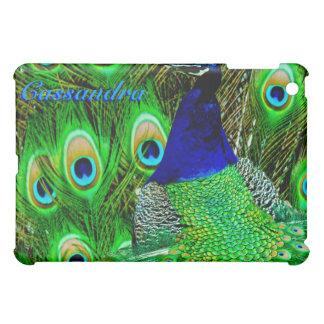 peacock feathers bag green_blue iPad mini cover
