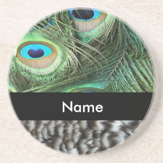 Peacock feathers beverage coasters