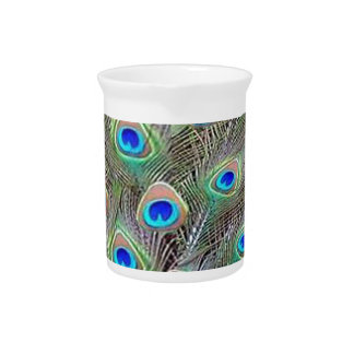 Peacock Feathers Beverage Pitcher