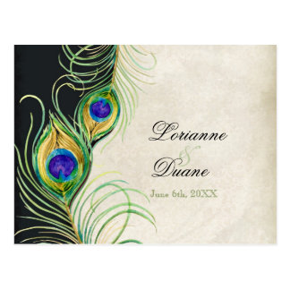 Peacock Feathers Black Damask RSVP Response Card