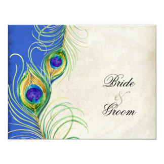 Peacock Feathers Black Damask RSVP Response Card Invites