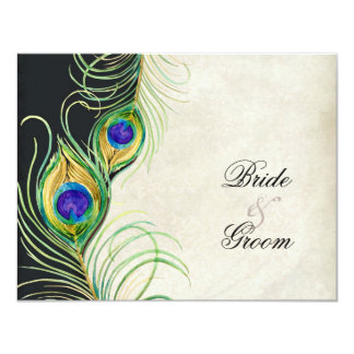 """Peacock Feathers Black Damask RSVP Response Card 4.25"""" X 5.5"""" Invitation Card"""