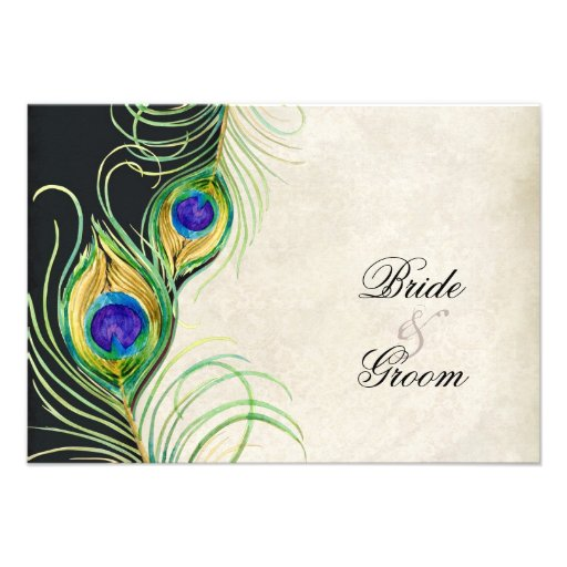 Peacock Feathers Black Damask RSVP Response Card Custom Invites