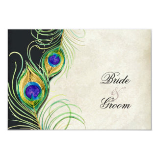 """Peacock Feathers Black Damask RSVP Response Card 3.5"""" X 5"""" Invitation Card"""