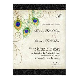Peacock Feathers Black Damask Wedding Stationery Card