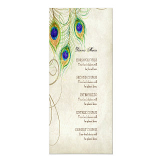 Peacock Feathers Black Damask Wedding Stationery Card