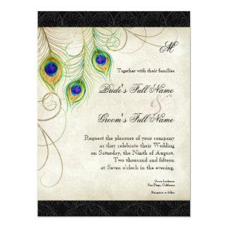 Peacock Feathers Black Damask Wedding Stationery Invite