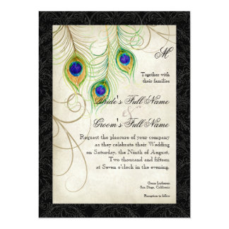 Peacock Feathers Black Damask Wedding Stationery 5.5x7.5 Paper Invitation Card