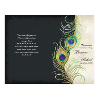 Peacock Feathers - Black, Wedding Program