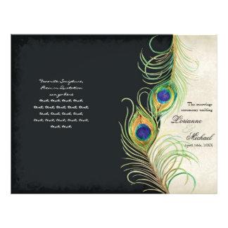 Peacock Feathers - Black, Wedding Program Flyers