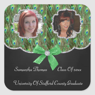 Peacock Feathers Bling 2 Photos Graduation Square Sticker