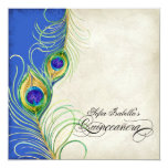 Peacock Feathers Blue Damask Quinceanera Party Card