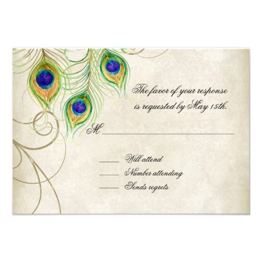 Peacock Feathers Blue Damask RSVP Response Card