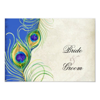 "Peacock Feathers Blue Damask RSVP Response Card 3.5"" X 5"" Invitation Card"