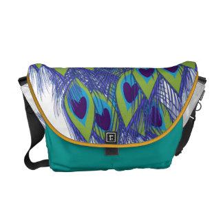 peacock feathers blue green messenger bag