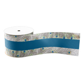 Peacock Feathers Blue Grosgrain Ribbon