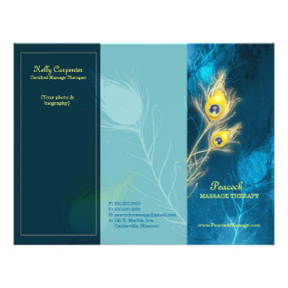 """Peacock Feathers Blue Tri Fold Business Brochures 8.5"""" X 11"""" Flyer"""