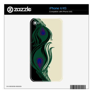 Peacock Feathers Border iPhone 4 Decal