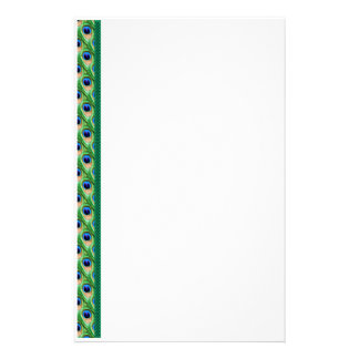 Peacock Feathers Border Stationery