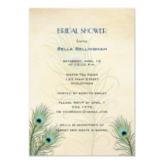"Peacock Feathers Bridal Shower Invitation 5"" X 7"" Invitation Card"