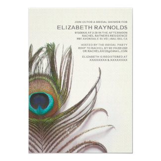"Peacock Feathers Bridal Shower Invitations 5"" X 7"" Invitation Card"