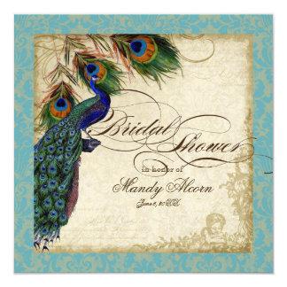 Peacock & Feathers Bridal Shower Invite Aqua Blue