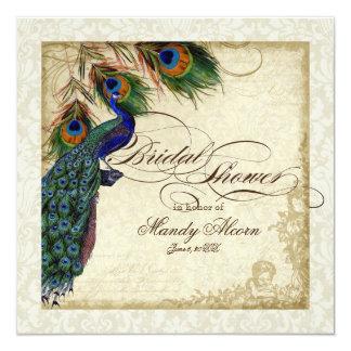 Peacock & Feathers Bridal Shower Invite Cream