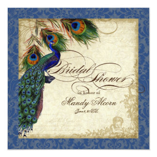 Peacock & Feathers Bridal Shower Invite Navy Blue