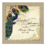 "Peacock & Feathers Bridal Shower Invite Taupe 5.25"" Square Invitation Card"