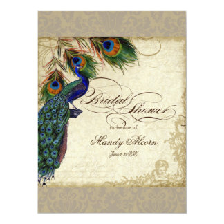 Peacock & Feathers Bridal Shower Invite Taupe Tan