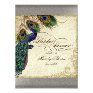 Peacock & Feathers Bridal Shower Silver Metallic Card
