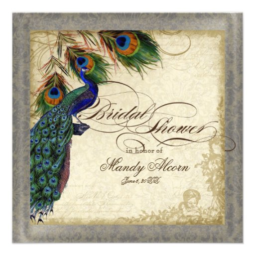 Peacock Bridal Shower Invitations could be nice ideas for your invitation template